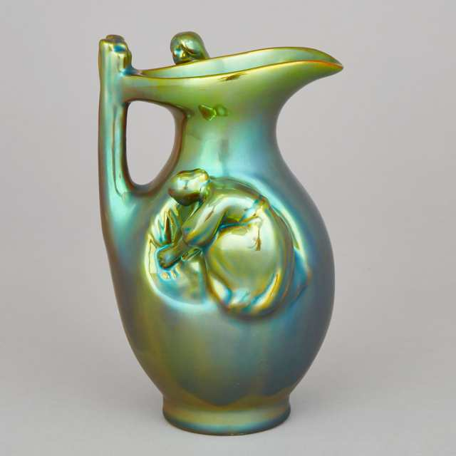 Zsolnay Iridescent Glazed Jug, 20th century