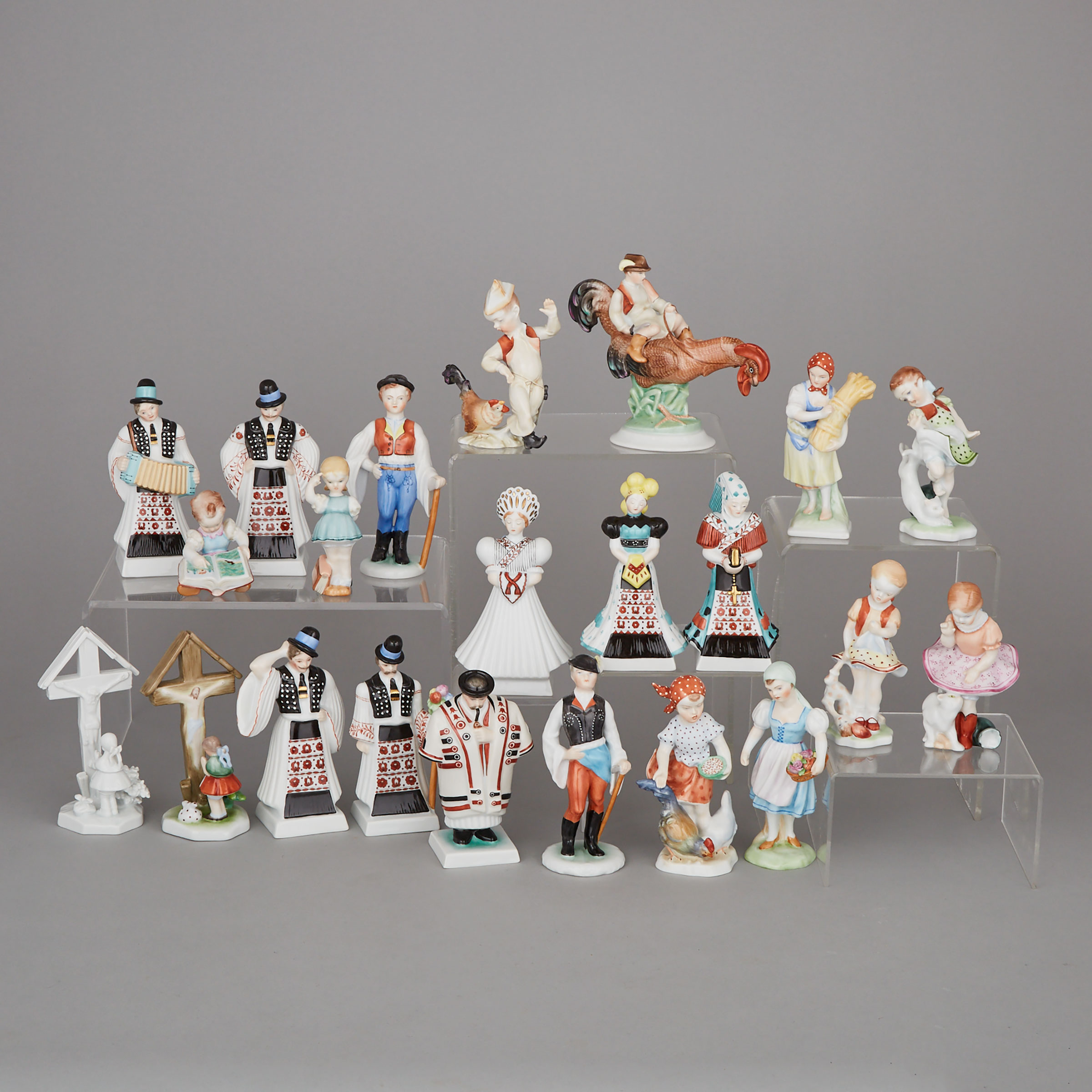 Twenty-two Herend Figures, 20th century