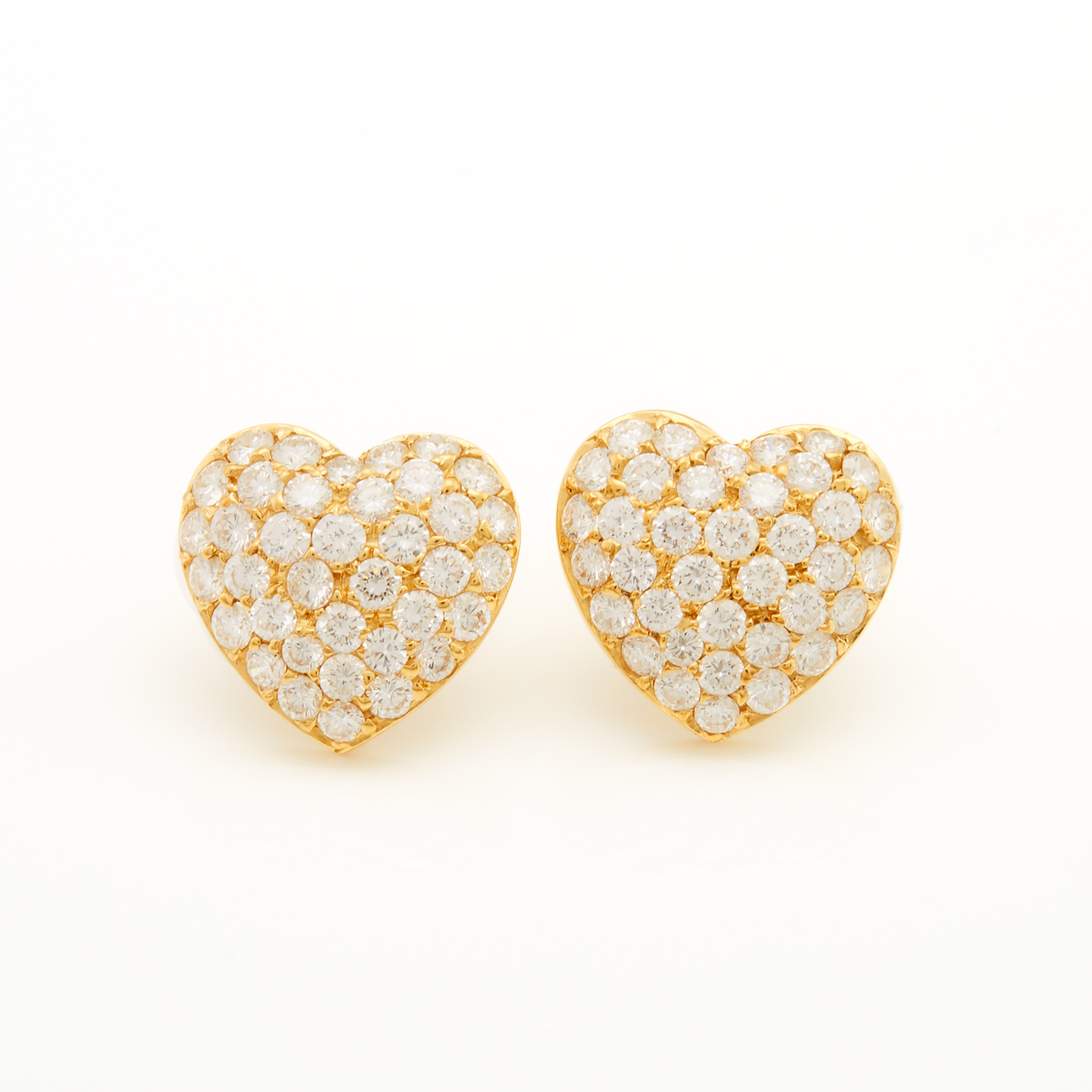 Pair Of 18k Yellow Gold Heart-Shaped Button Earrings