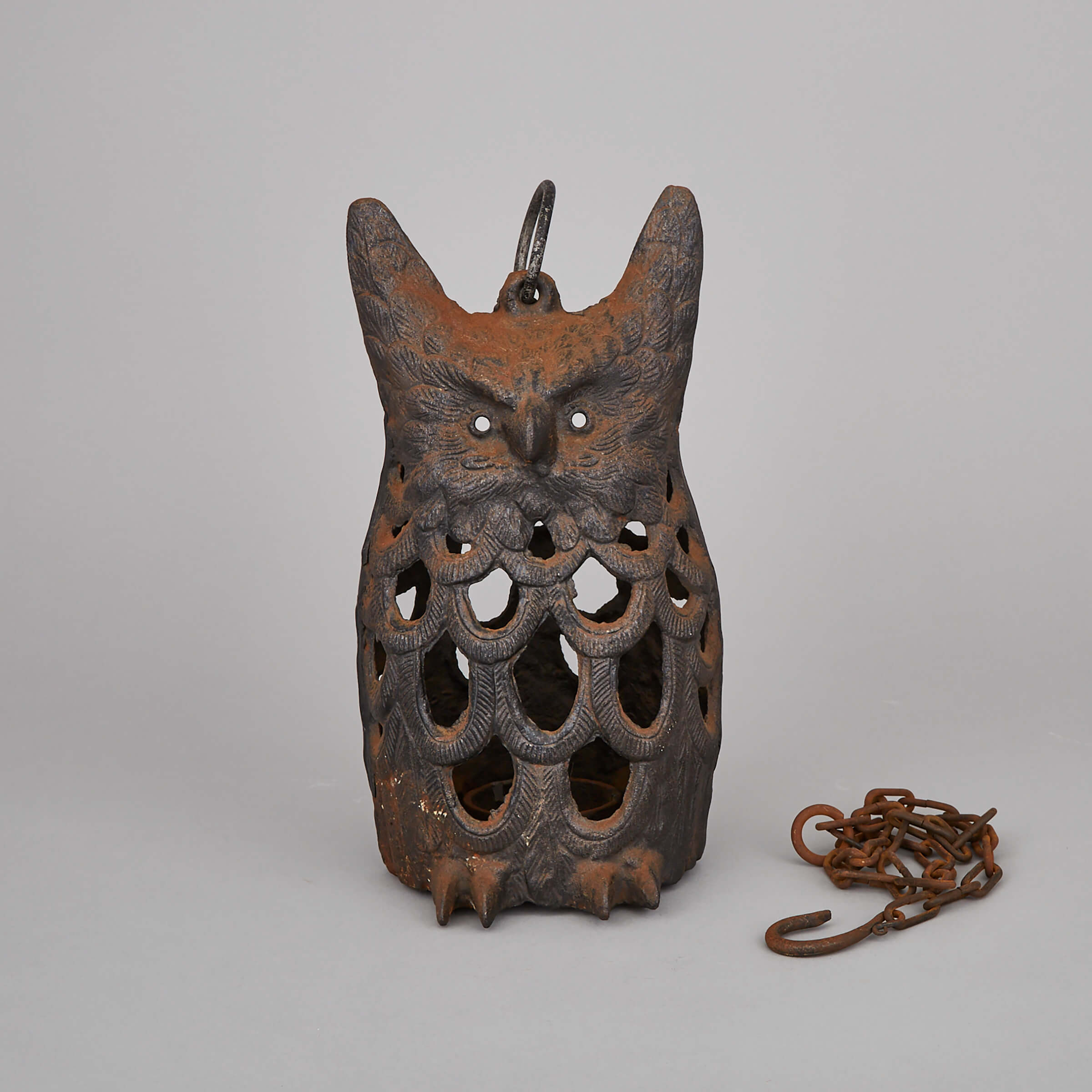 A Japanese Cast Iron Owl Lantern