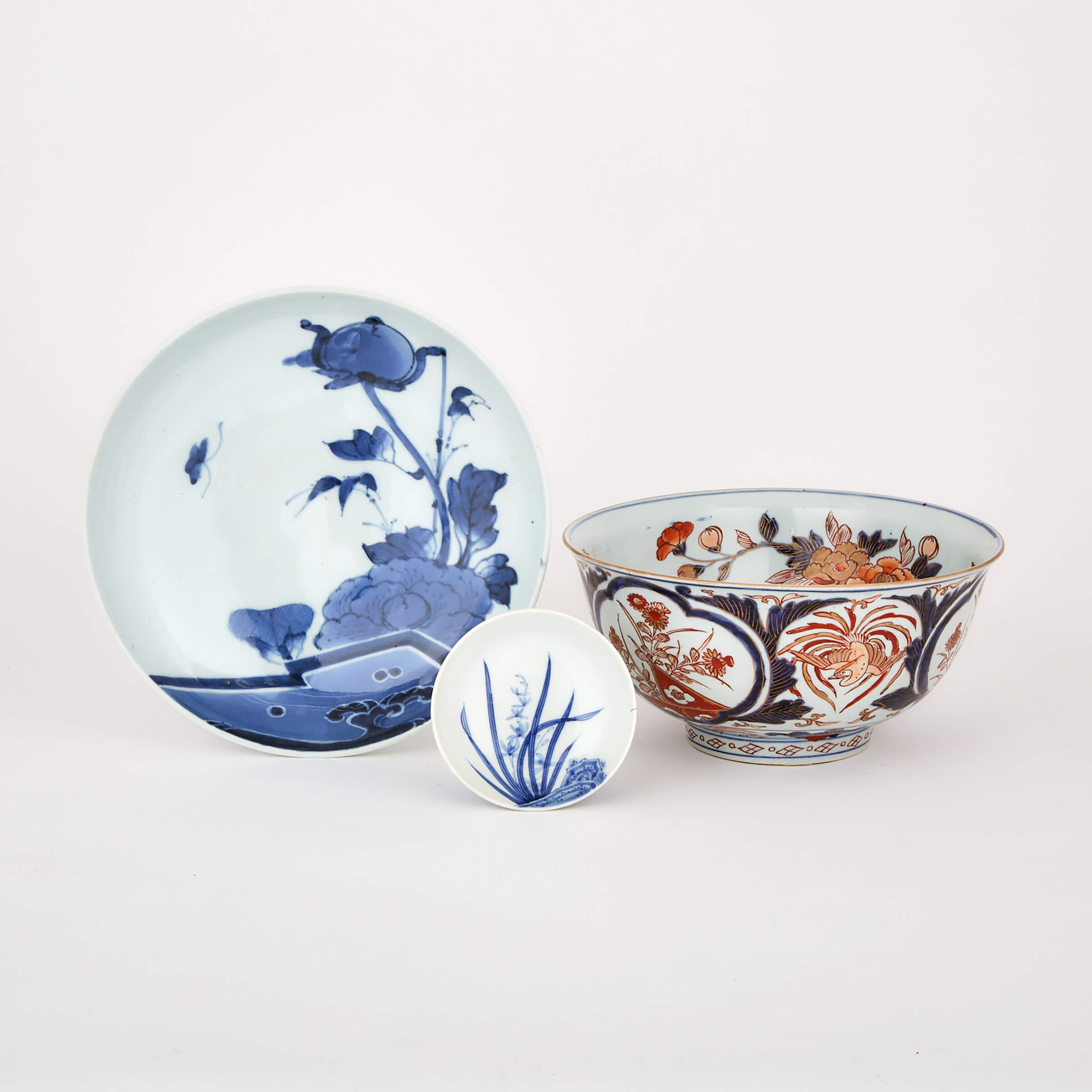 A Group of Three Japanese Porcelain Wares, 19th Century