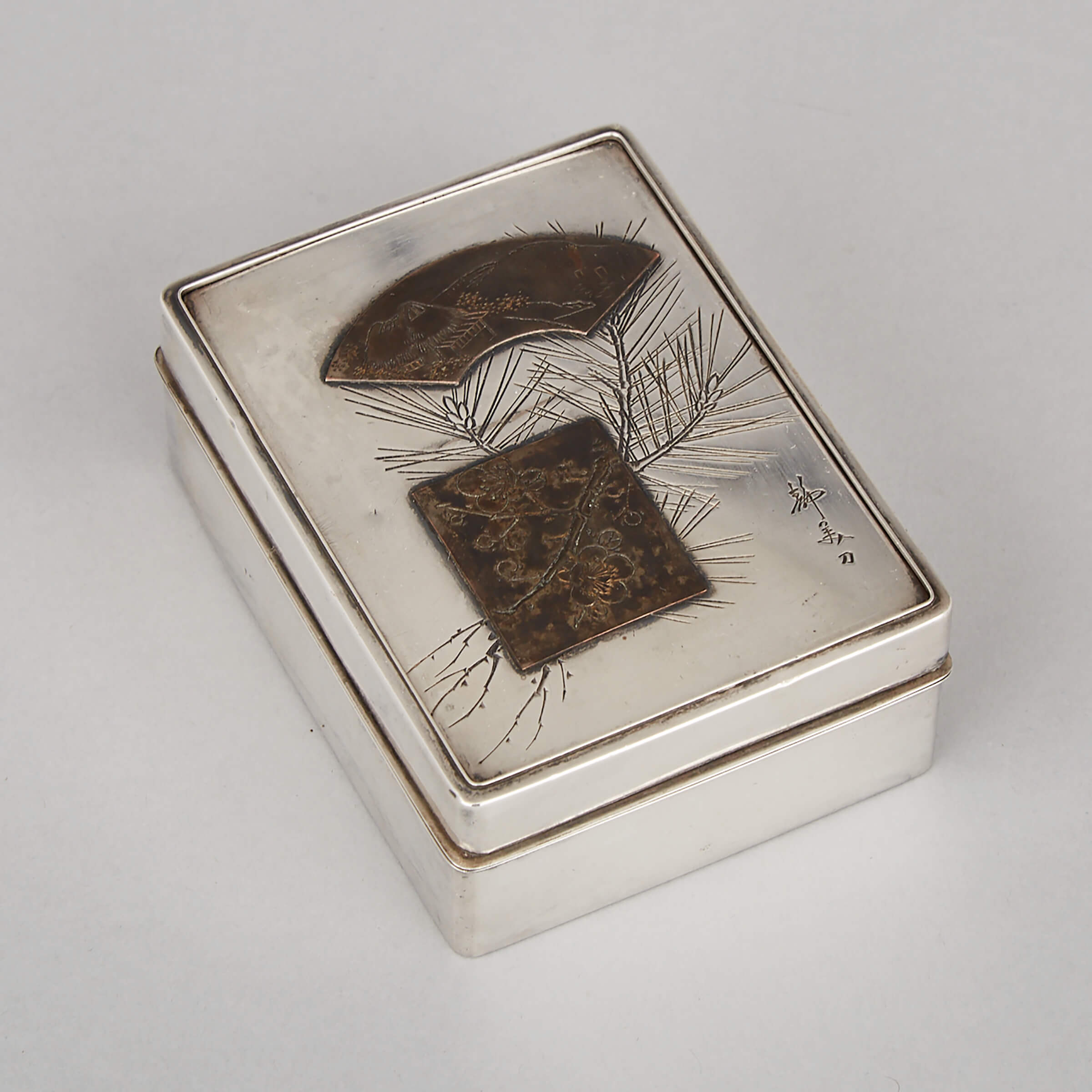 A Japanese Silver Cigarette Case