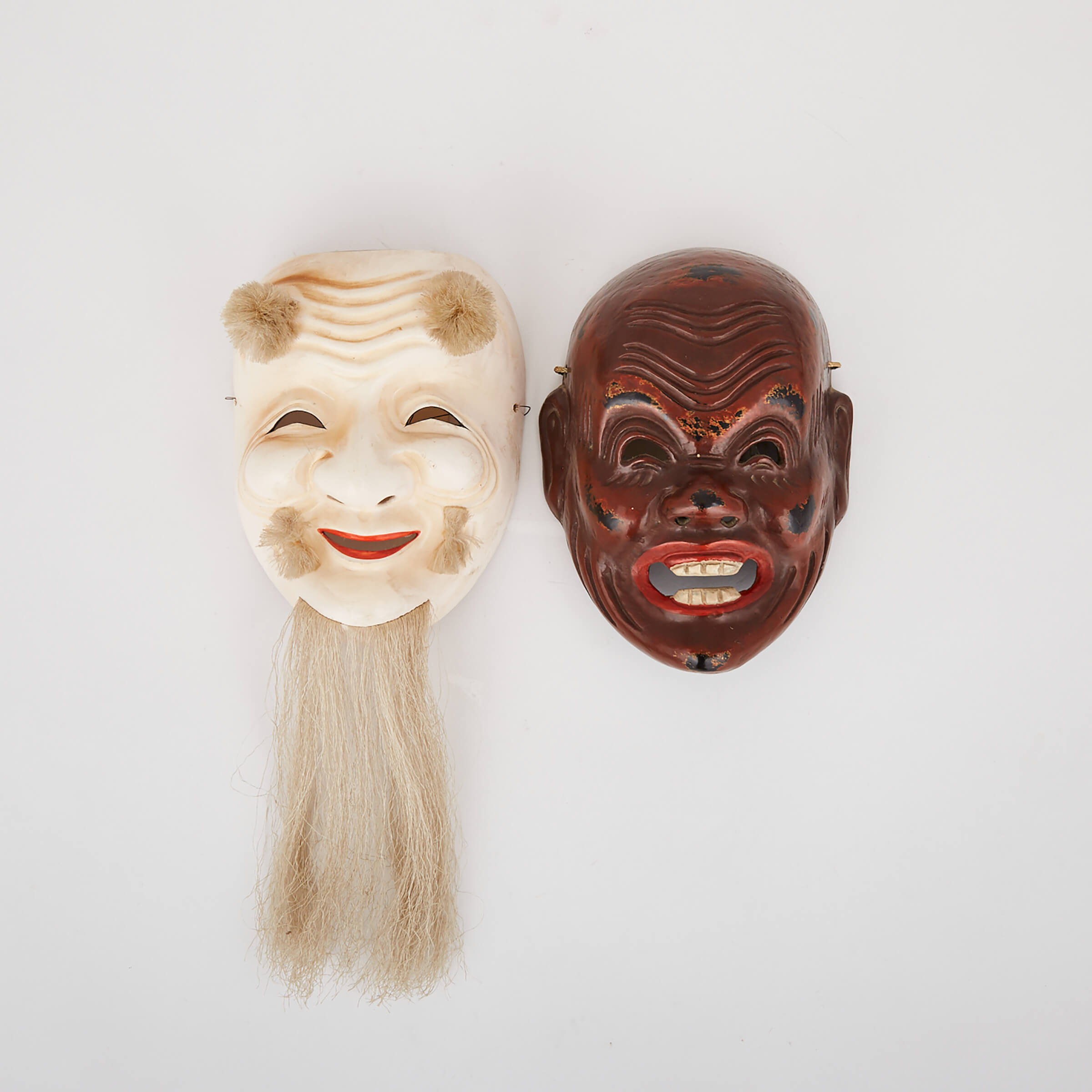Two Noh Theatre Masks, Early 20th Century