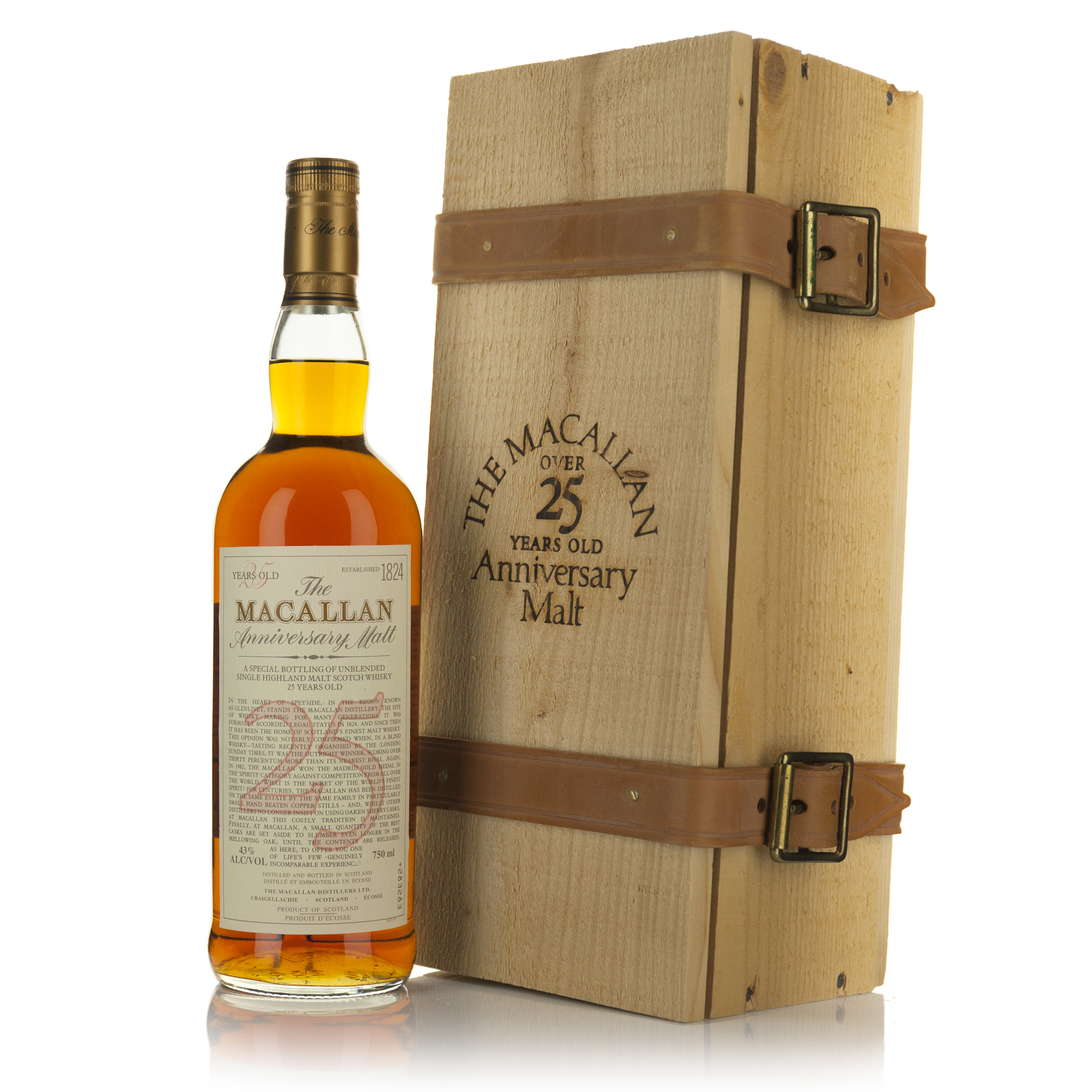 THE MACALLAN 25 ANNIVERSARY SINGLE HIGHLAND MALT SCOTCH WHISKY 25 YEARS (ONE 750 ML)
