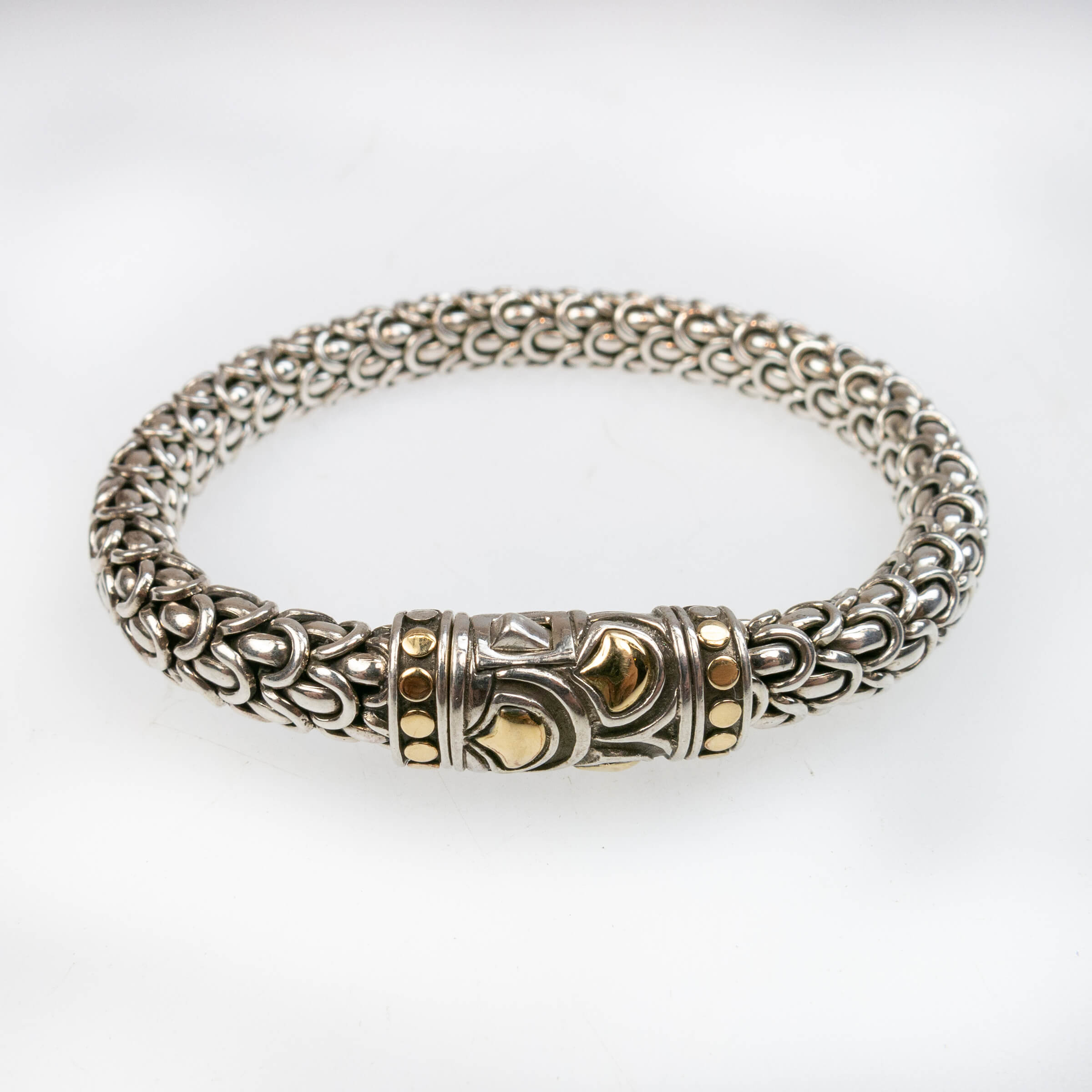 John Hardy Sterling Silver And 18k Yellow Gold Bracelet