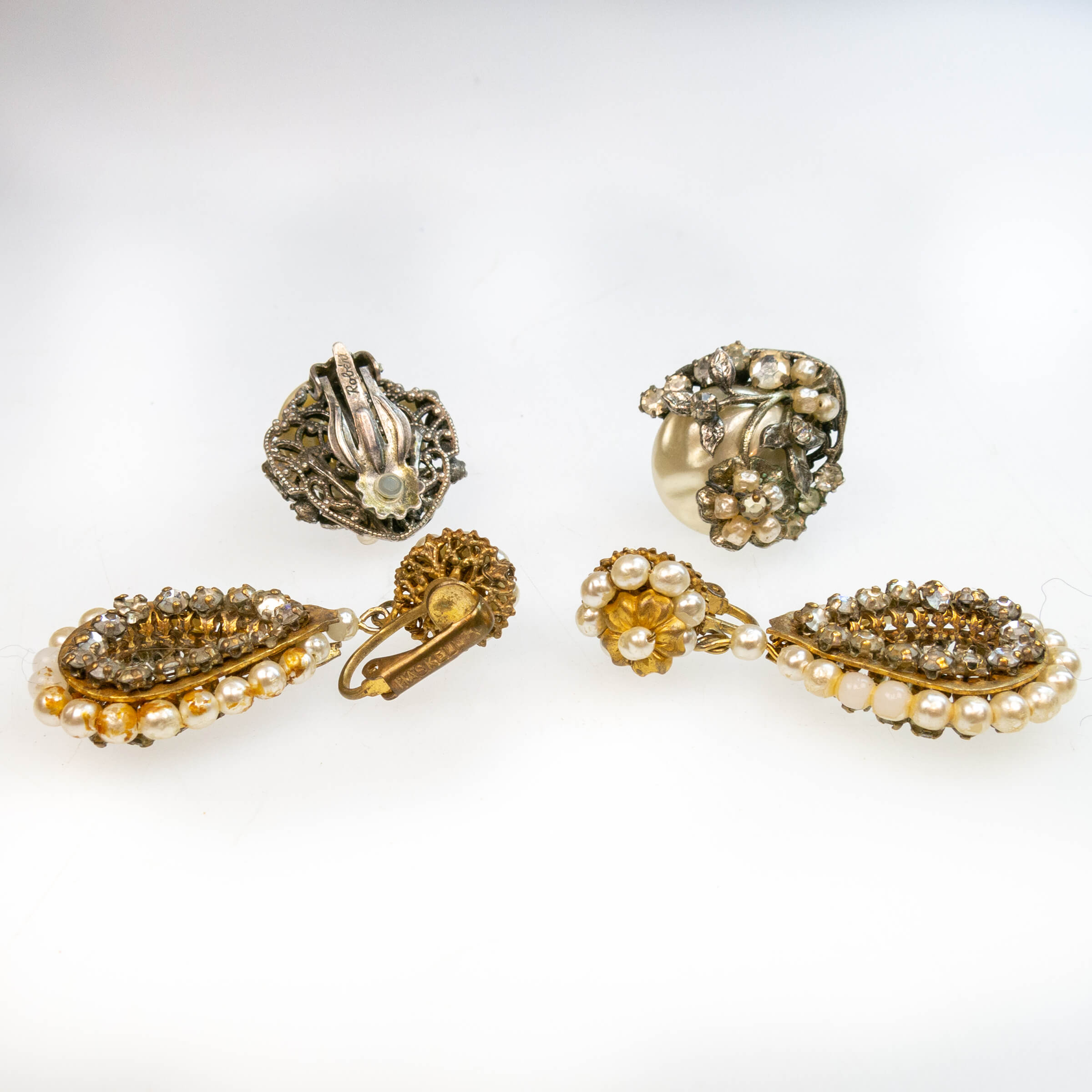 Pair Of Robert And A Pair Of Miriam Haskell Gold-Tone Metal Clip-Back Earrings