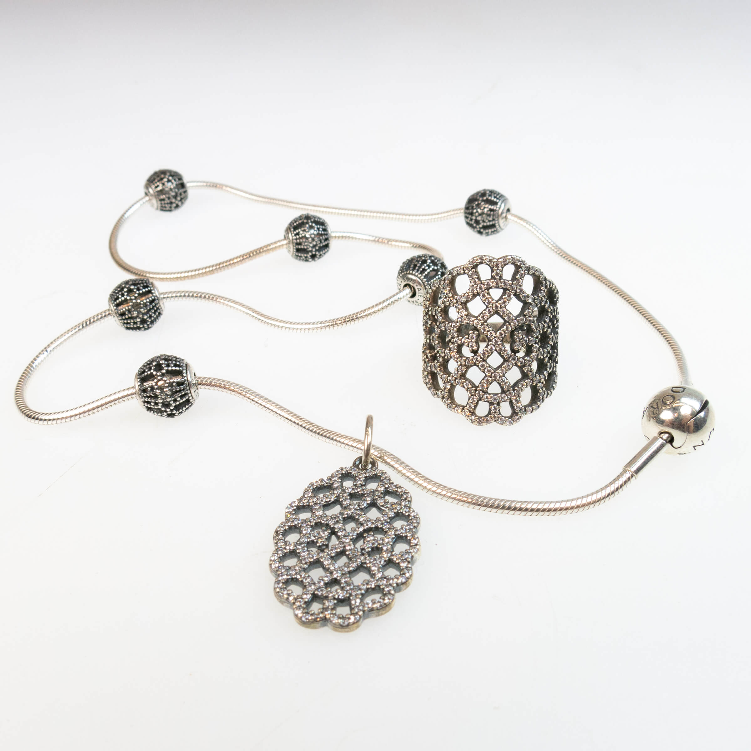 Pandora Sterling Silver Necklace, Pendant And Ring