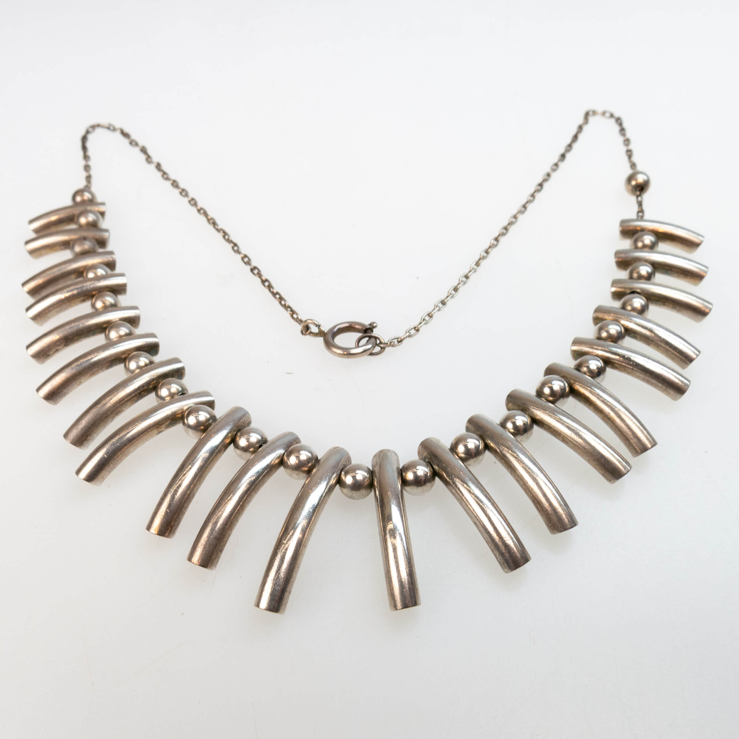Aage Dragsted Danish Sterling Silver Fringe Necklace