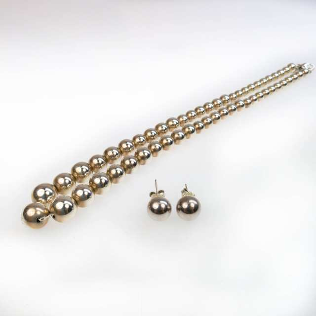 Tiffany & Co. Sterling Silver Graduated Bead Necklace And Stud Earrings