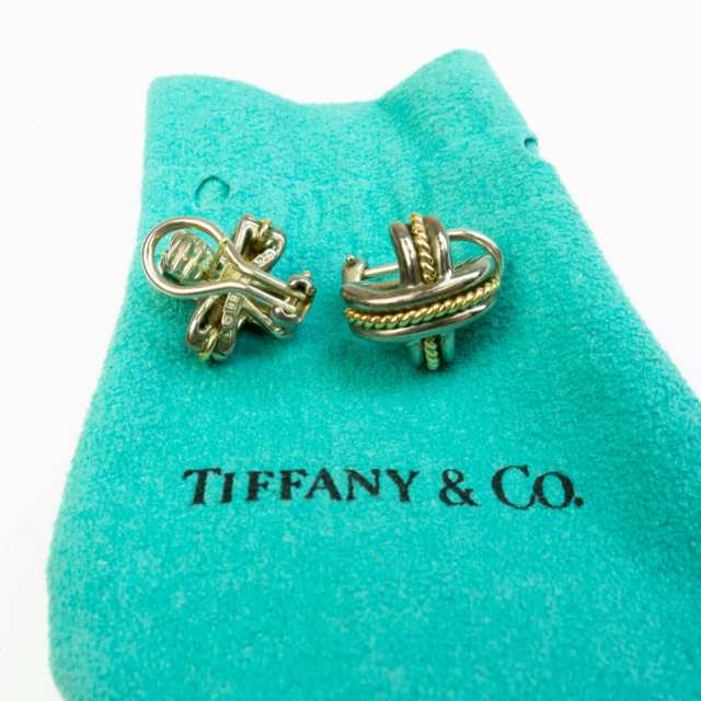 Pair Of Tiffany & Co. Paloma Picasso Sterling Silver And 18k Yellow Gold Earrings