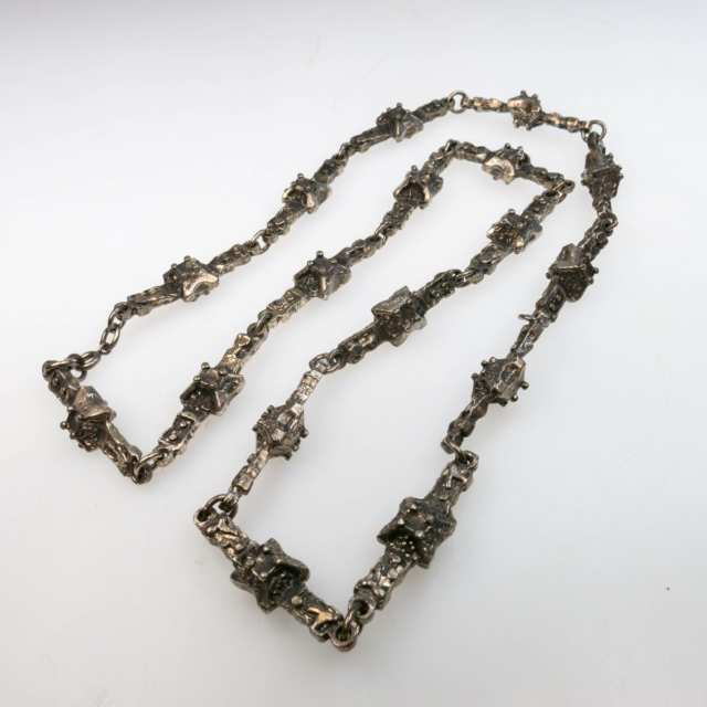 Robert Larin Canadian Pewter Brutalist Abstract Link Chain