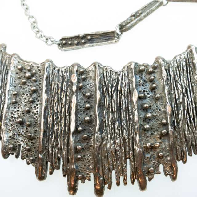 Guy Vidal Canadian Pewter Brutalist Abstract Bib Necklace