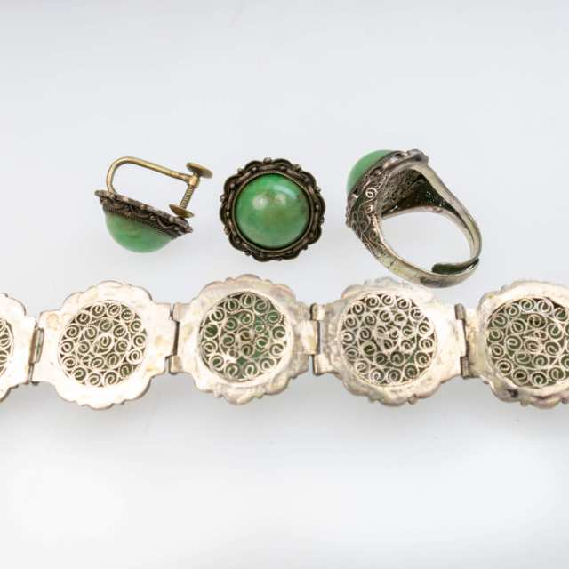 Chinese Silver Filigree Bracelet, Ring And Screw-Back Earrings