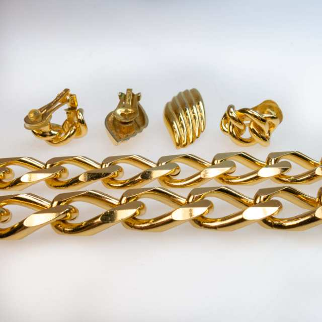 Christian Dior Gold-Tone Metal Bracelet, Necklace And 2 Pairs Of Clip-Back Earrings