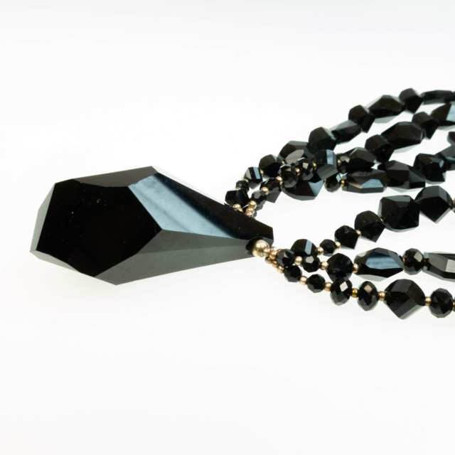 Triple Strand Facetted Black Glass Necklace And Pendant