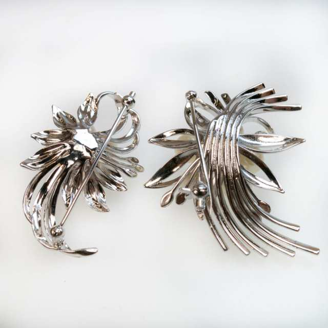 2 Silver Floral Spray Brooches