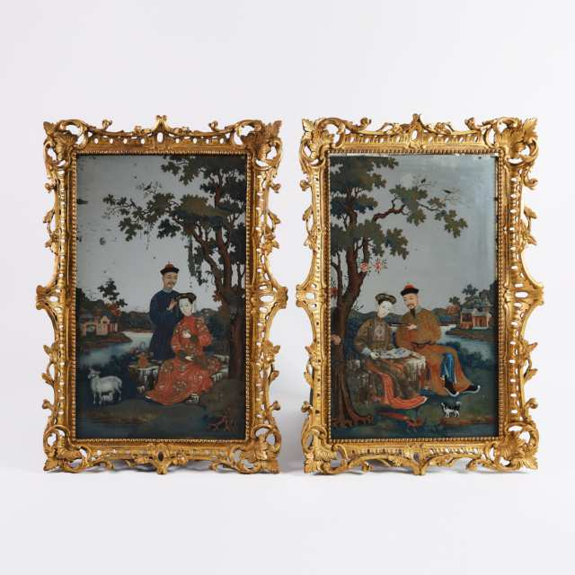 Chinese Export Reverse Painted Mirrors, 18th Century