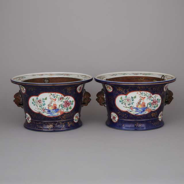 A Pair of Chinese Famille Rose & Powder Blue Glaze Fish Bowl Jardinieres, 18th/19th Century