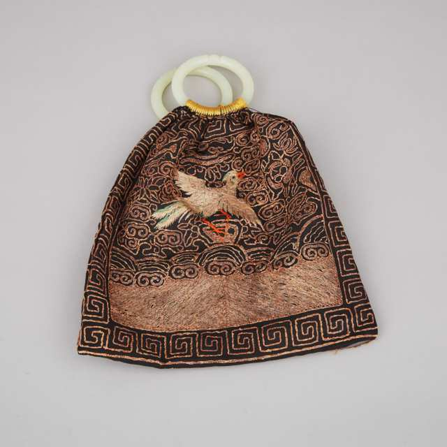 A Silk Embroidered Purse with Jade Bangles