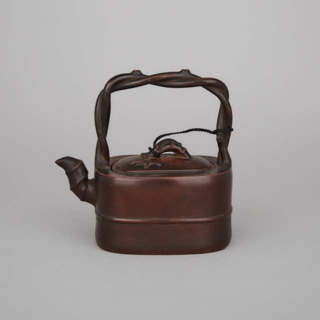 A Fine 'Imitation-Bamboo' Yixing Stoneware Teapot and Cover, 19th Century