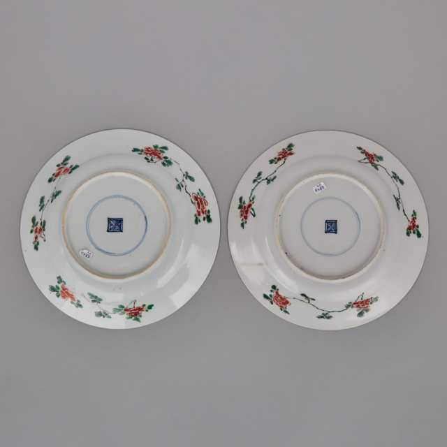 A Pair of Famille Verte 'Qilin and Phoenix' Dishes, Kangxi Period (1664-1722)