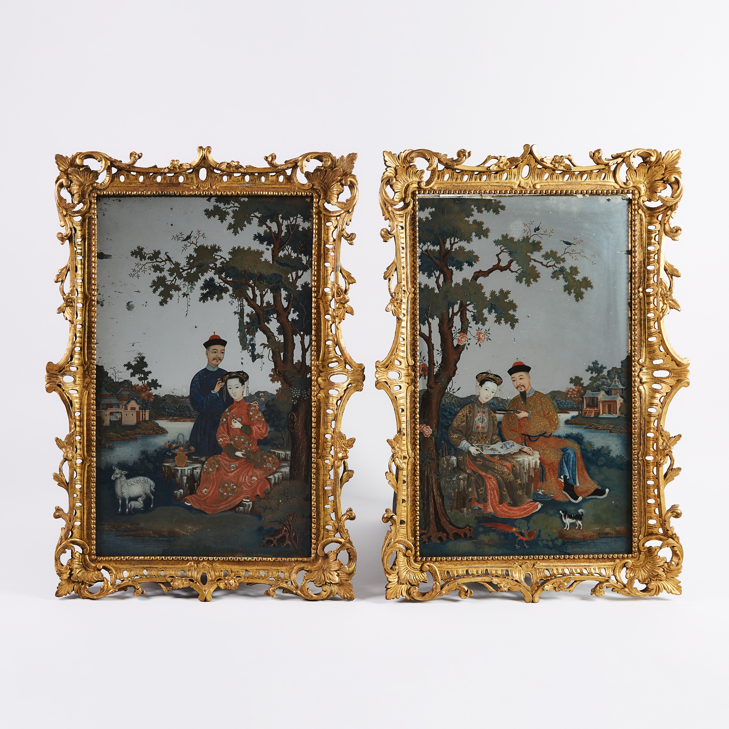 A Pair of Chinese Export Reverse Painted Mirrors, 18th Century