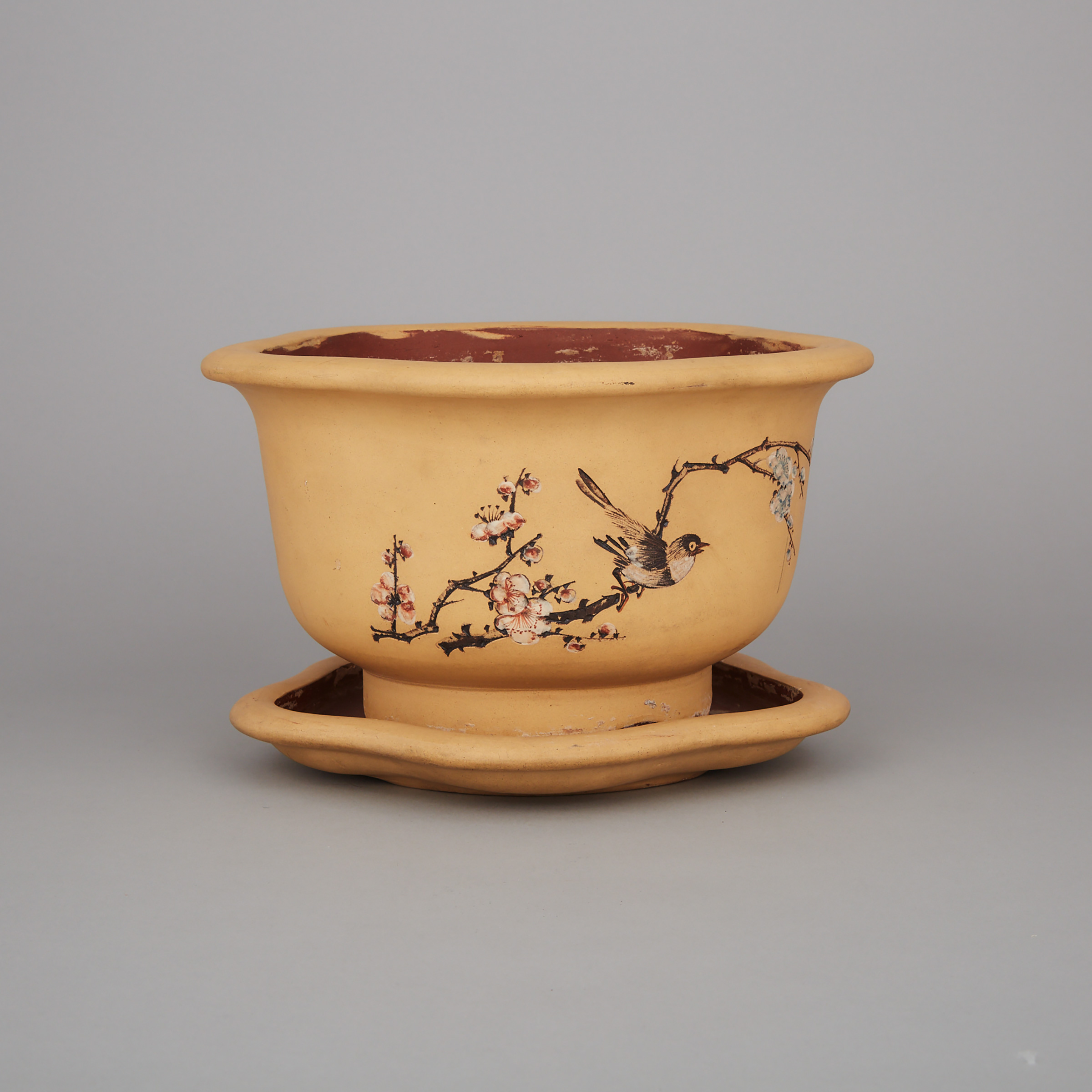 An Inscribed Yixing Stoneware Planter Pot and Stand