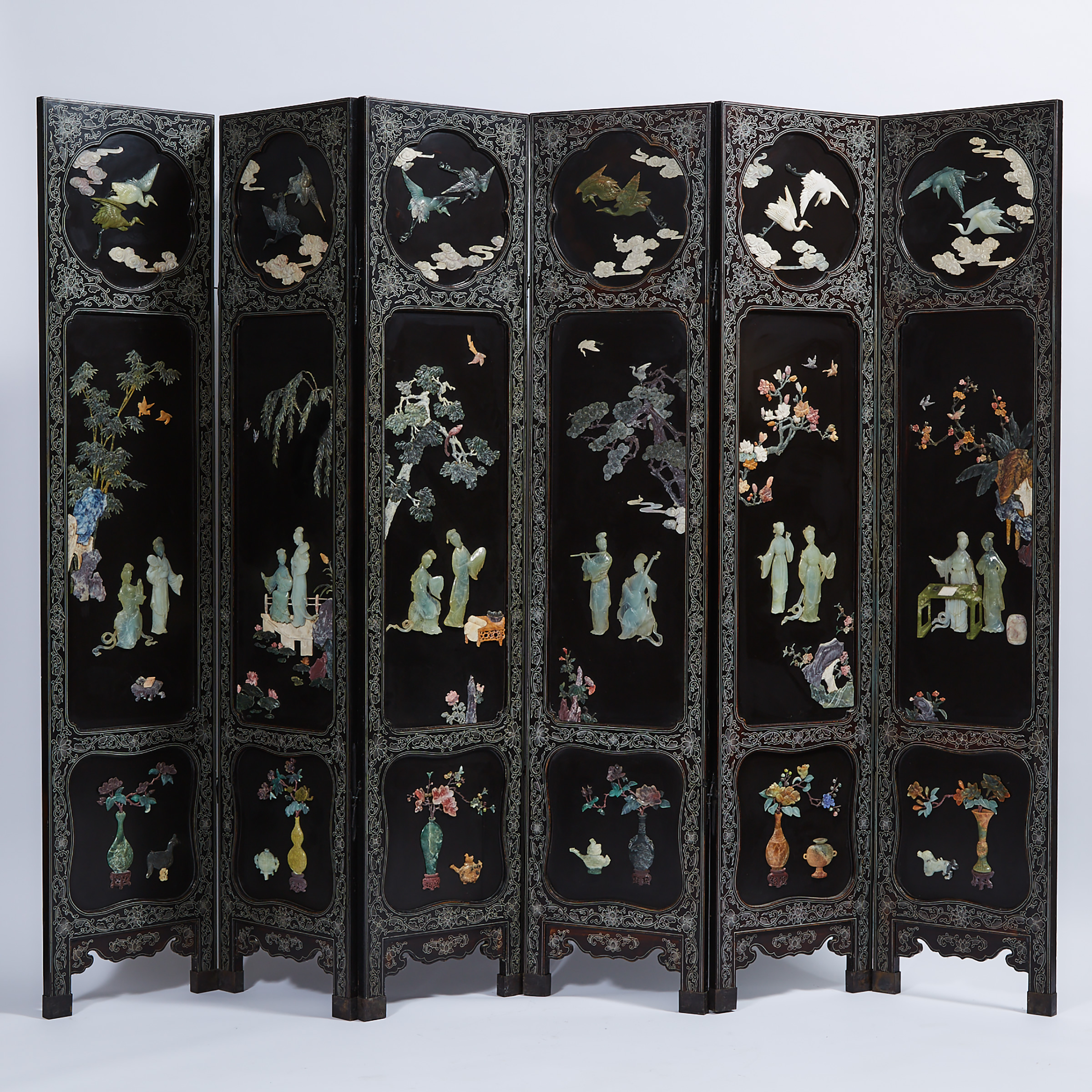 A Six Panel Hardstone Inlaid Black Lacquer Floor Screen