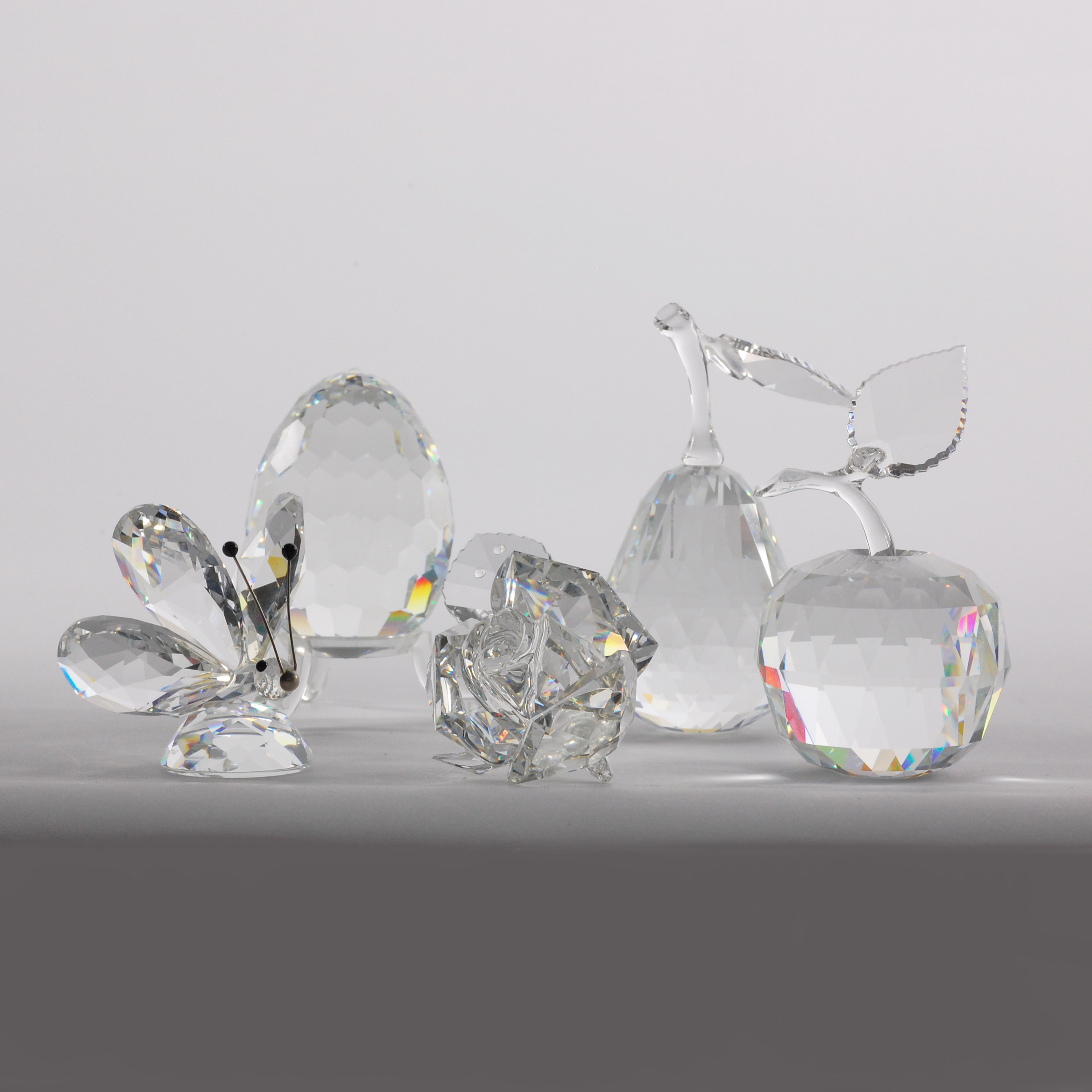 Five Swarovski Crystal Decorative Objects, late 20th/early 21st century