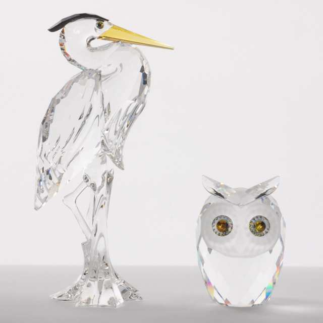 Four Swarovski Crystal Bird Figurines, late 20th/early 21st century