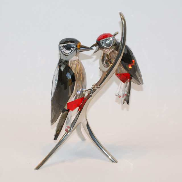 Swarovski Crystal Black Diamond Woodpeckers, early 21st century
