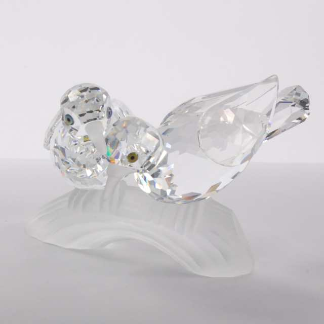 Swarovski Crystal 'Caring and Sharing' Birds: Woodpeckers and Turtledoves, 1988/1989