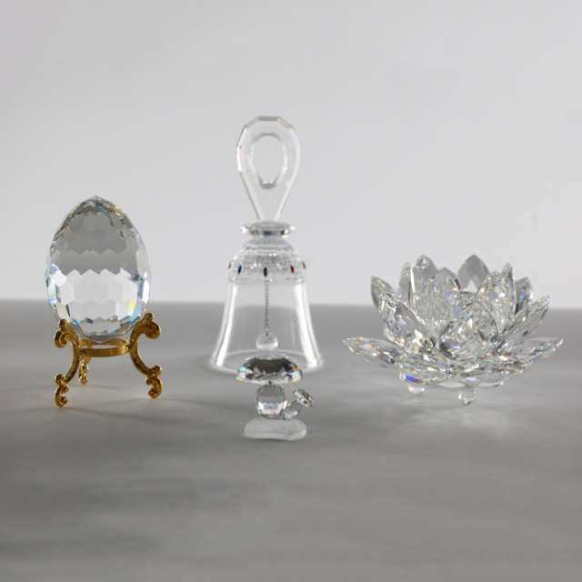 Four Swarovski Crystal Decorative Objects, late 20th/early 21st century