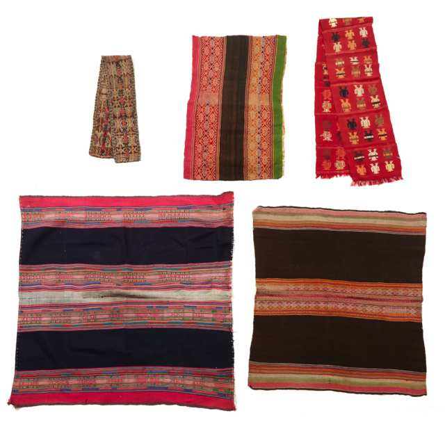Group of Five South American Textiles, including Four Peruvian Aymara weavings