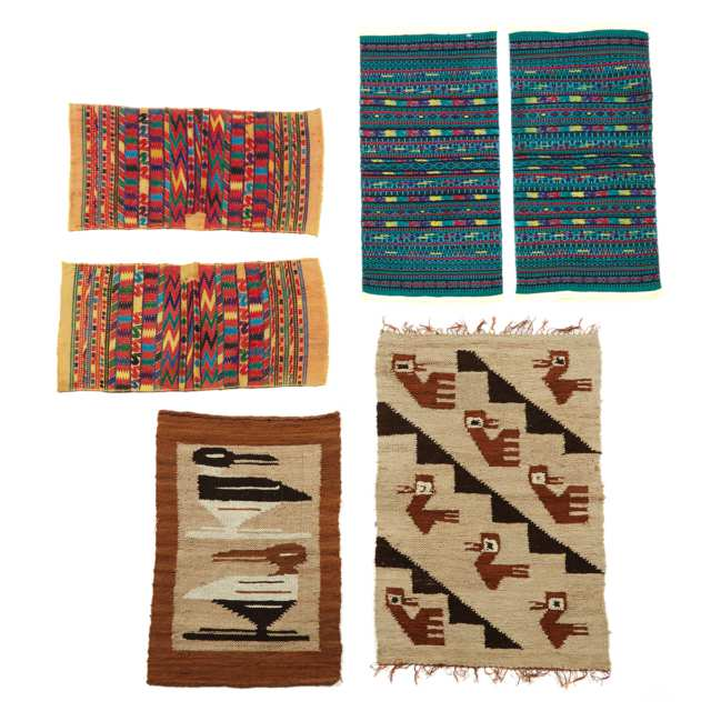 Group of Six Central American Textiles including two Peruvian Kelims