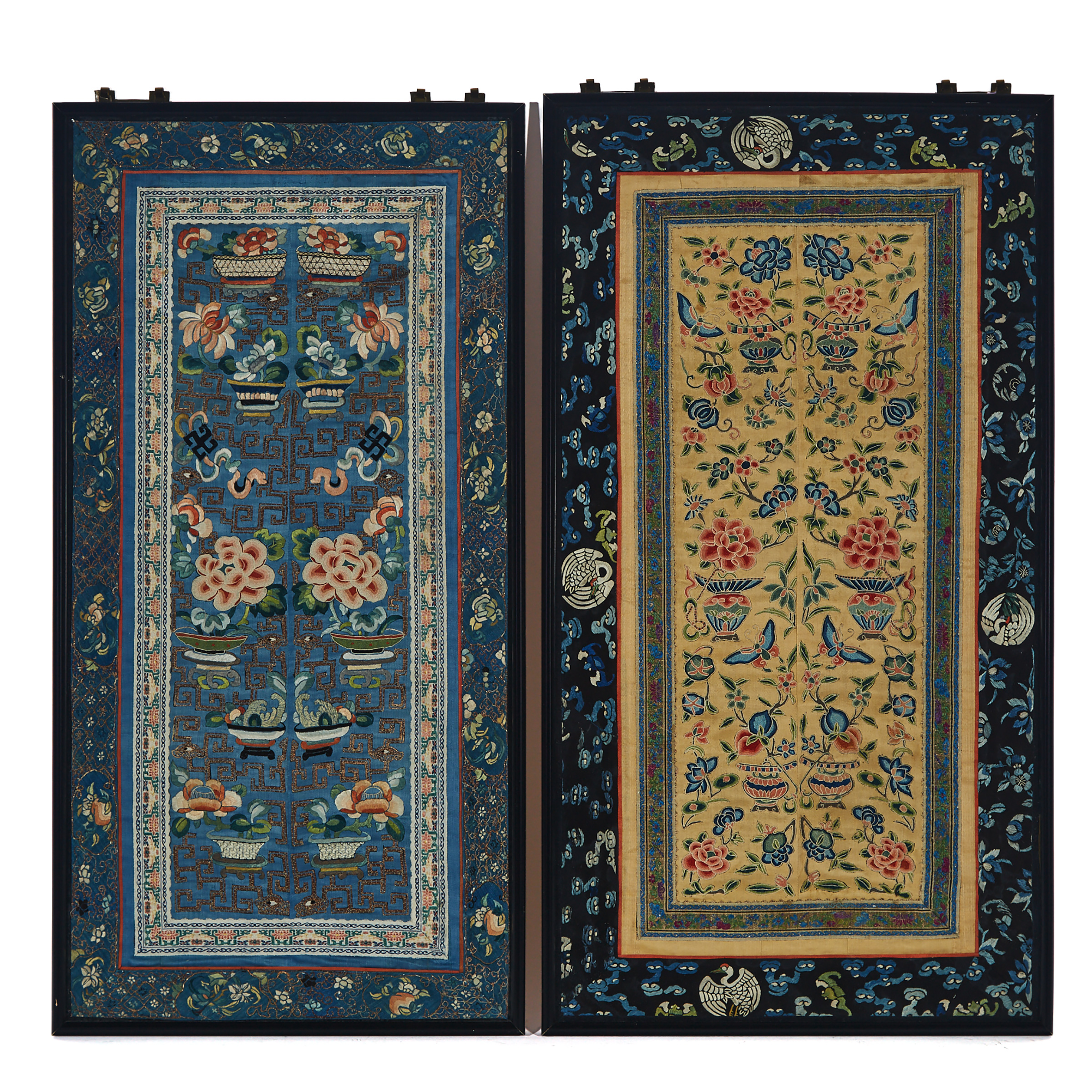 Two Framed Chinese Silk Embroideries