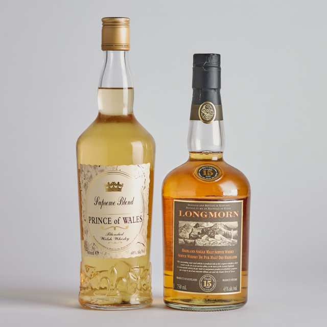 LONGMORN HIGHLAND SINGLE MALT SCOTCH WHISKY 15 YEARS (ONE 750 ML) PRINCE OF WALES BLENDED WELSH WHISKY NAS (ONE 700 ML)