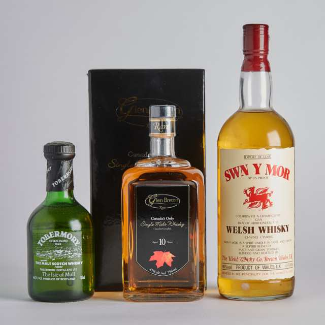 GLEN BRETON CANADIAN SINGLE MALT WHISKY 10 YEARS (ONE 750 ML) SWN Y MOR (ONE 1000 ML) TOBERMORY THE MALT SCOTCH WHISKY 10 YEARS (ONE 35 CL)