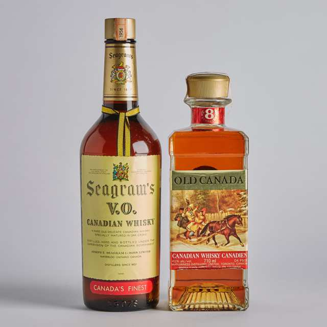 OLD CANADA CANADIAN WHISKY 8 YEARS (ONE 710 ML) SEAGRAM'S VO BLENDED CANADIAN WHISKY (ONE 25 FL OZ)