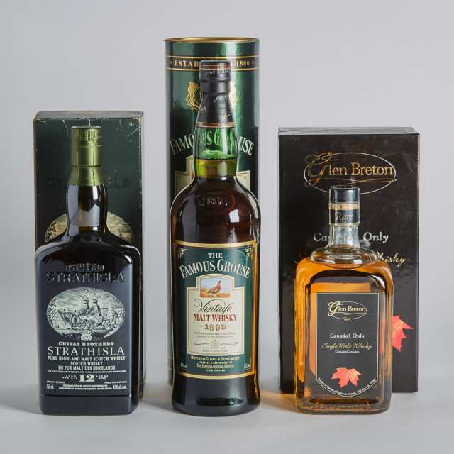 FAMOUS GROUSE VINTAGE MALT WHISKY NAS (ONE 1000 ML) GLEN BRETON CANADIAN SINGLE MALT WHISKY NAS (ONE 750 ML) STRATHISLA PURE HIGHLAND MALT SCOTCH WHISKY 12 YEARS (ONE 750 ML)