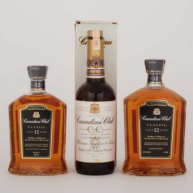 CANADIAN CLUB CANADIAN WHISKY (ONE 710 ML) CANADIAN CLUB PREMIUM CANADIAN WHISKY 12 YEARS (ONE 1000 ML) CANADIAN CLUB PREMIUM CLASSIC CANADIAN WHISKY 12 YEARS (ONE 750 ML)