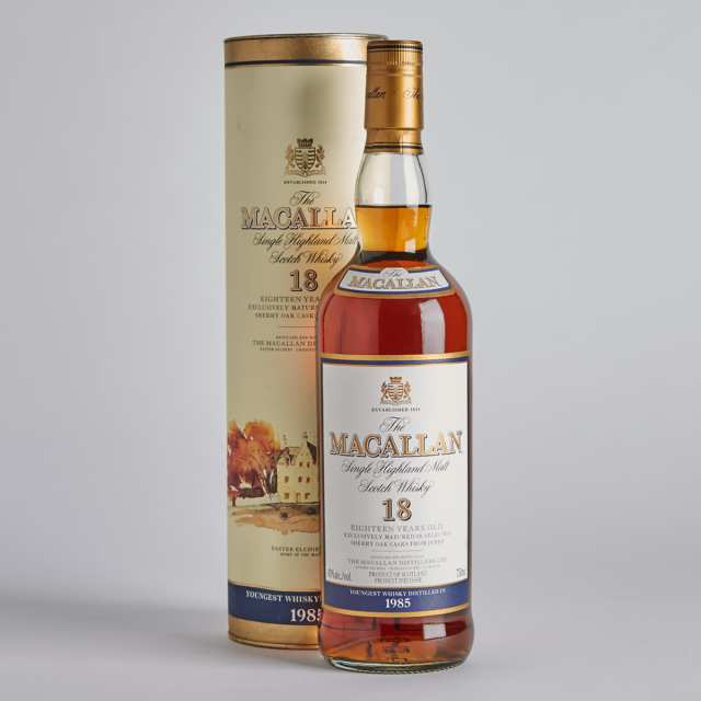 THE MACALLAN HIGHLAND SINGLE MALT SCOTCH WHISKY 18 YEARS (ONE 750 ML)