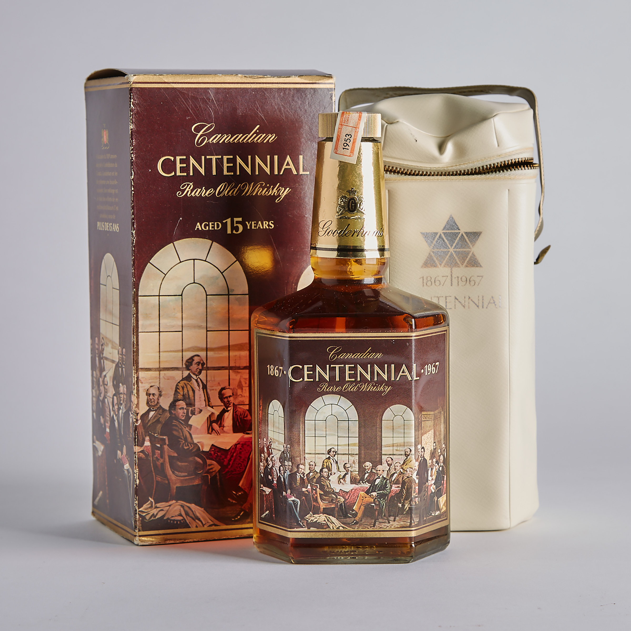 GOODERHAM'S CANADIAN CENTENNIAL RARE OLD WHISKY 15 YRS (ONE 25 FL OZ)