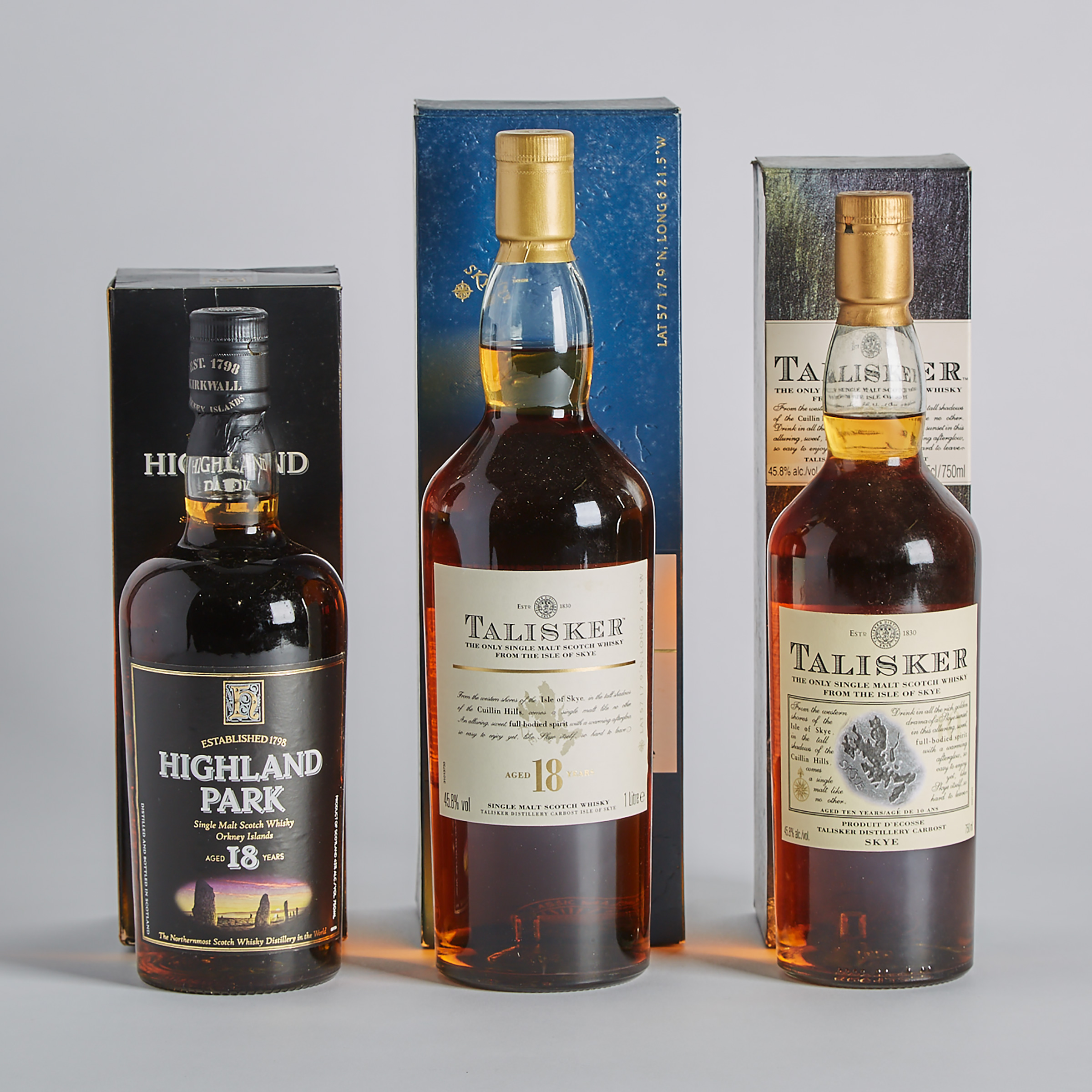 HIGHLAND PARK SINGLE MALT SCOTCH WHISKY 18 YEARS (ONE 750 ML) TALISKER SINGLE MALT SCOTCH WHISKY 10 YEARS (ONE 750 ML) TALISKER SINGLE MALT SCOTCH WHISKY 18 YEARS (ONE 1000 ML)
