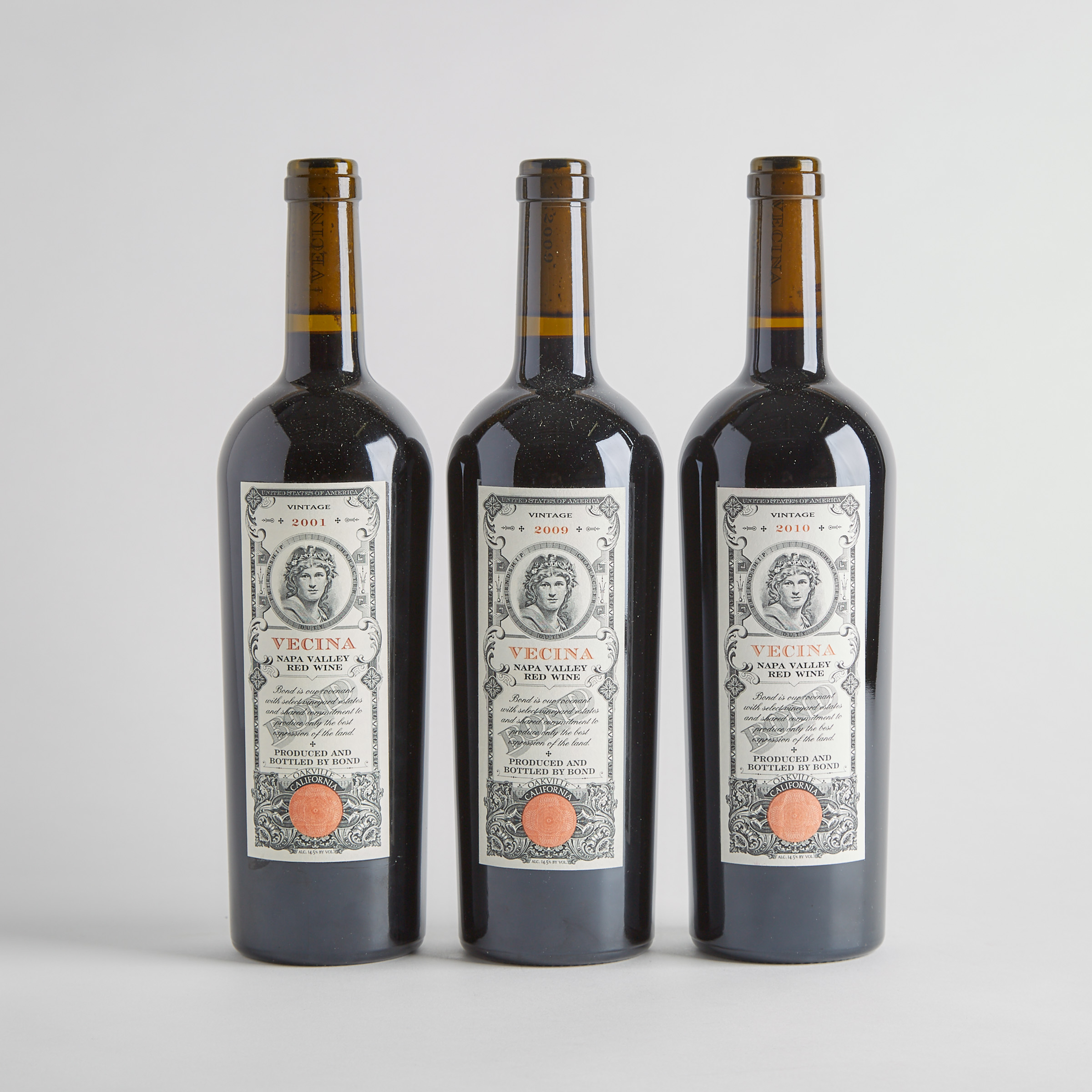 BOND ESTATES VECINA RED WINE 2001 (1) WA 96+ BOND ESTATES VECINA RED WINE 2009 (1) WA 98+ BOND ESTATES VECINA RED WINE 2010 (1) WA 99
