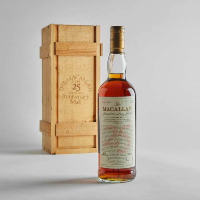 THE MACALLAN 25 YEAR ANNIVERSARY SINGLE HIGHLAND MALT SCOTCH WHISKY 25 YEARS (ONE 750)