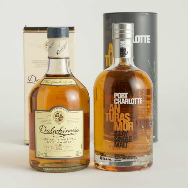 DALWHINNIE HIGHLAND SINGLE MALT SCOTCH WHISKY 15 YEARS (ONE 750 ML) PORT CHARLOTTE AN TURAS MOR ISLAY SINGLE MALT SCOTCH WHISKY NAS (ONE 700 ML)