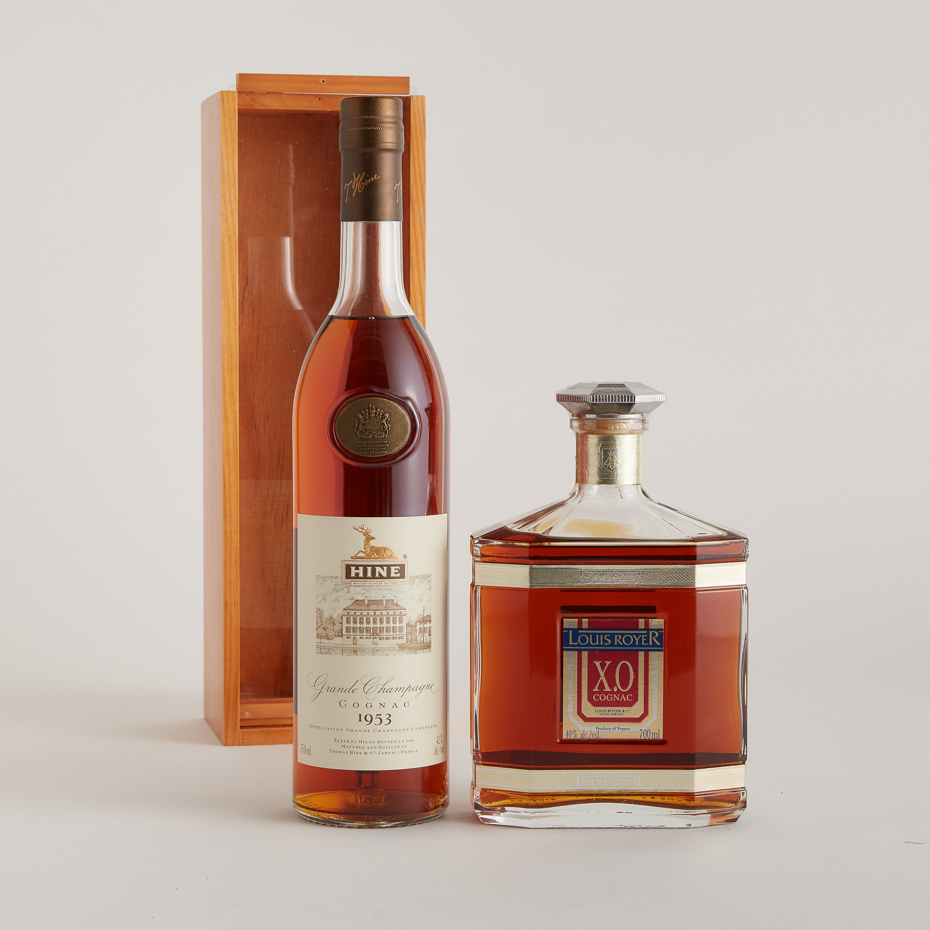 HINE GRANDE CHAMPAGNE COGNAC (ONE 750 ML) LOUIS ROYER XO COGNAC (ONE 700 ML)