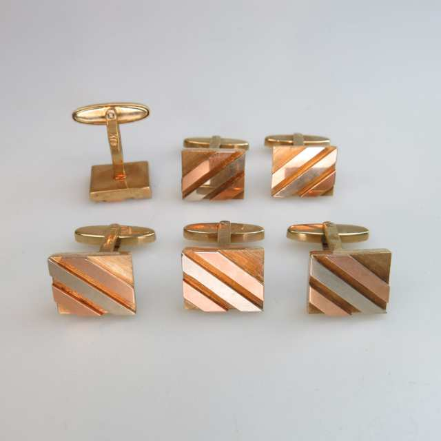 3 x Pairs Of 14k Three Colour Gold Cufflinks