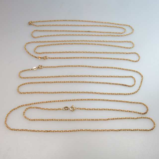4 x 18k Yellow Gold Rope Necklaces